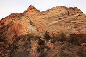 Oranje wit dambord mesa gelaagde rotsen zion canyon nati — Stockfoto