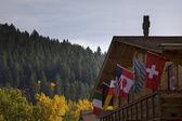 German Building International Flags Leavenworth Washington — Stockfoto
