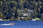 Lake Washington Mercer Island from Seward Park — Stock Photo