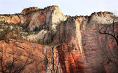 Temple of Sinawava Red Rock Wall Zion Canyon National Park Utah — Stock Photo