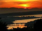 Seattle, Washington from Somerset at Sunset — Stock Photo