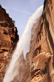 Falling Water Weeping Rock Waterfall Red Rock Wall Zion Canyon U — Stock Photo
