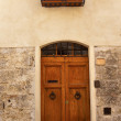 Ancient Door Windows Medieval Town San Gimignano Tuscany Italy - Stock Photo