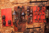 Brass Door Knockers Bells Medieval Town San Gimignano Tuscany It — Stock Photo