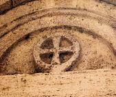 Ancient Stone Jersualem Cross Saint Francis Church Facade Mediev — Stock Photo