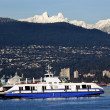 Vancouver Harbor Ferry Snowy Two Lions Mountains British Columbi — Stock Photo #6296560