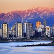 Stock Photo: Vancouver Skyline Harbor English Bay Snow Mountains Sunset Briti