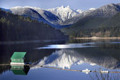 Capilano Reservoir Lake Snowy Two Lions Mountains Vancouver Brit — Stock Photo