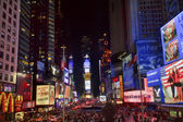 Times square lightshow nuit de toits de voitures new york city — Photo