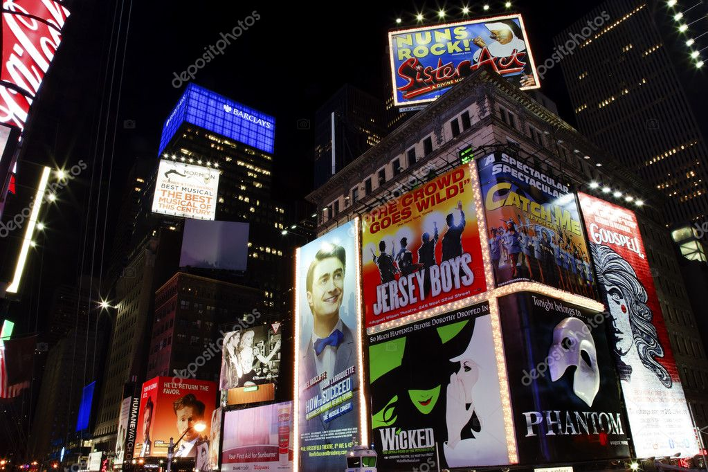 Times Square Lightshow, Advertising, Plays, New York City Skyline NightEditorial Use Only  Stock Photo #6327012