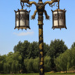 Ornate Dragon Lamp Post Yuanming Yuan Old Summer Palace Willows - Stock Photo