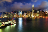Hong Kong Harbor at Night from Kowloon Ferry — Stock Photo