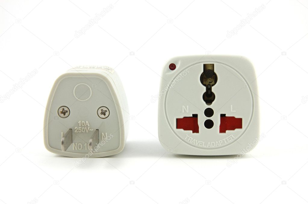 Travel adaptor in isolated white — Stock Photo #6725041