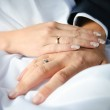 Close-up of caucasian couple's hands with wedding rings — Stock Photo #6008326