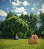 Bukiet ślubny róża na kosz i newlywed para w przyrodzie — Zdjęcie stockowe