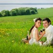 Bride and Groom drink a wine in the field of dandelion — Stock Photo #6060536