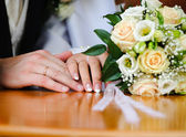 Wedding Ring and hands — Stock Photo