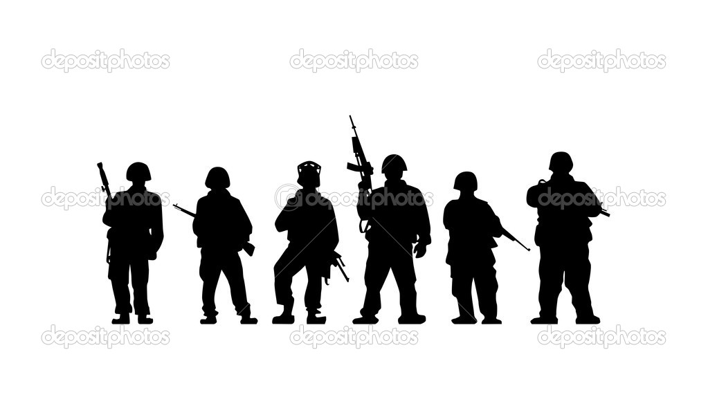 Soldiers silhouette with guns in vector  Stock Vector #6082158