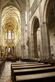 Main nave and in St. Vitus Cathedral — Stock Photo