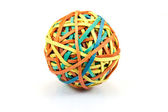 Colorful ball of rubber bands on a white background — Stock Photo