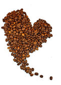 Roasted coffee beans in the shape of the heart. — Stock Photo