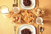 Country breakfast tableware — Stock Photo