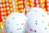 Snowball like fir decoration on blurry background — Stock Photo