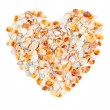 I love you made of sea shells isolated — Stock Photo
