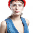 Stock Photo: Studio picture from a young craftswoman isolated