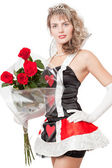 Girl with red roses isolated over a white background — Stock Photo