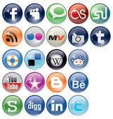 Social Bookmark icons Set — Stock Vector