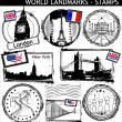 World landmarks stamps — Stok Vektör