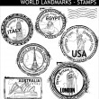 Royalty-Free Stock 矢量图片: World Landmarks Stamps