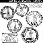 World Landmarks Stamps — Stock Vector