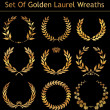 Set Of Golden Laurel Wreaths - Stock Vector