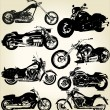 Cruiser Motorcycles sihouettes — Vector de stock #6034342