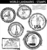 World Landmarks Stamps — Stock Vector