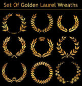 Set Of Golden Laurel Wreaths — Stock Vector