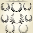 Set Of Laurel Wreaths — Vector de stock
