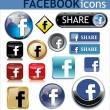 Facebook ikoner — Stockvektor