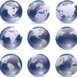 World Map Globe Collection - Stock Vector