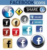 Facebook Icons — Stock Vector