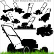 Stock Vector: Lawn mower set