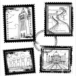 World Landmarks Stamps - Stock Vector
