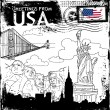Greetings From Usa - Stock Vector