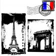 Paris In Grunge Frame — Stock Vector