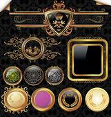 Gold framed labels - Set — Stock Vector