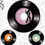 Лейблы звукозаписи ретро 45 об/мин — Cтоковый вектор