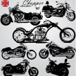 Chopper motorcycles silhouettes — Stock Vector