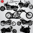 Stock Vector: Chopper motorcycles silhouettes